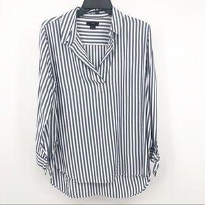 J. Crew Viscose Striped high low tunic top
